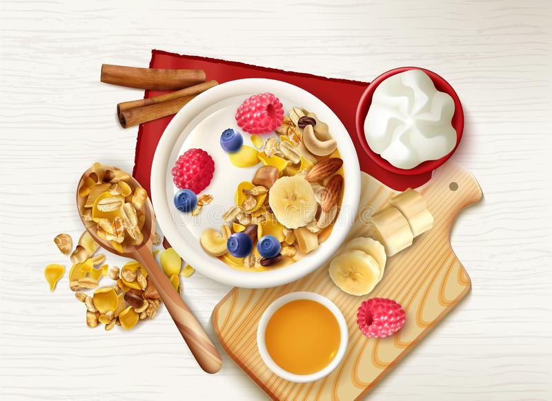 Muesli Fruits Table Composition stock illustration