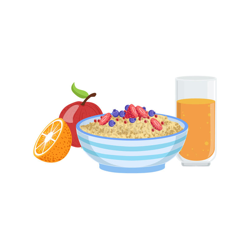 Muesli, fruta y naranja Juice Breakfast Food Drink Set stock de ilustración