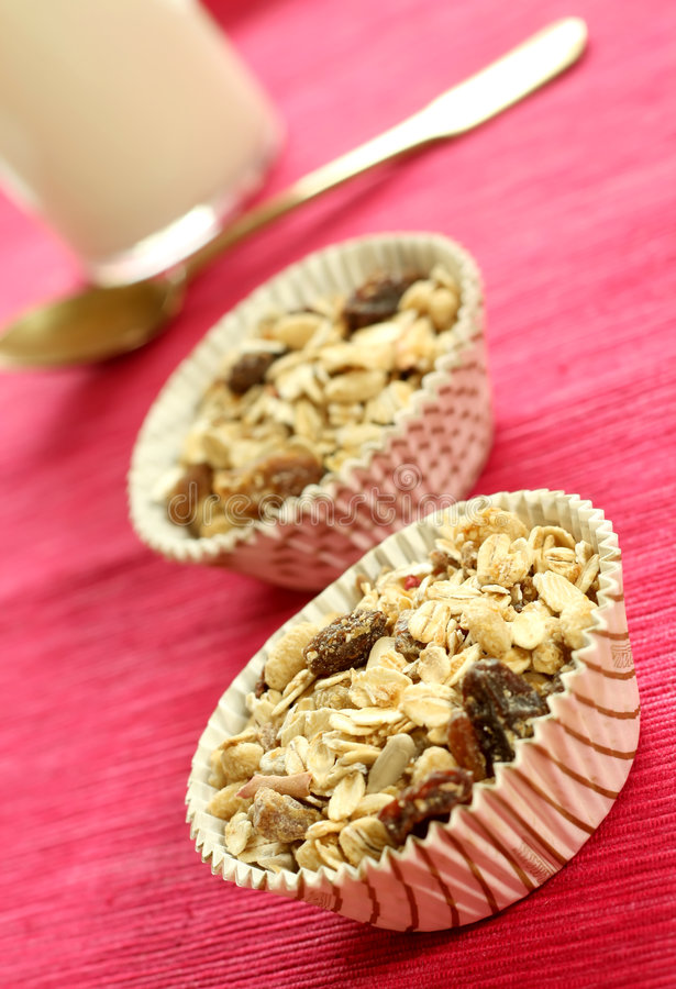 Download Muesli and a glass of milk stock image. Image of health - 8227319
