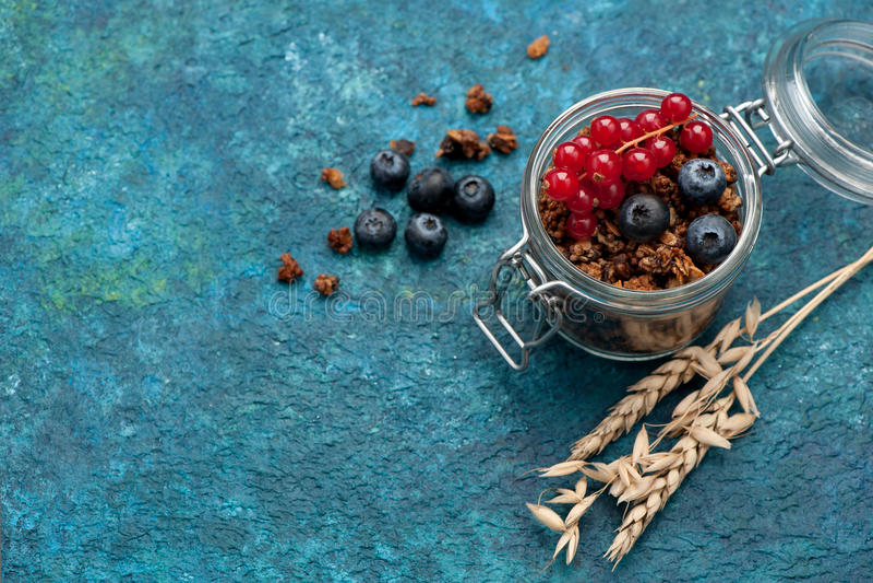 Muesli granola i świeże jagody, zdrowy śniadanie obrazy royalty free