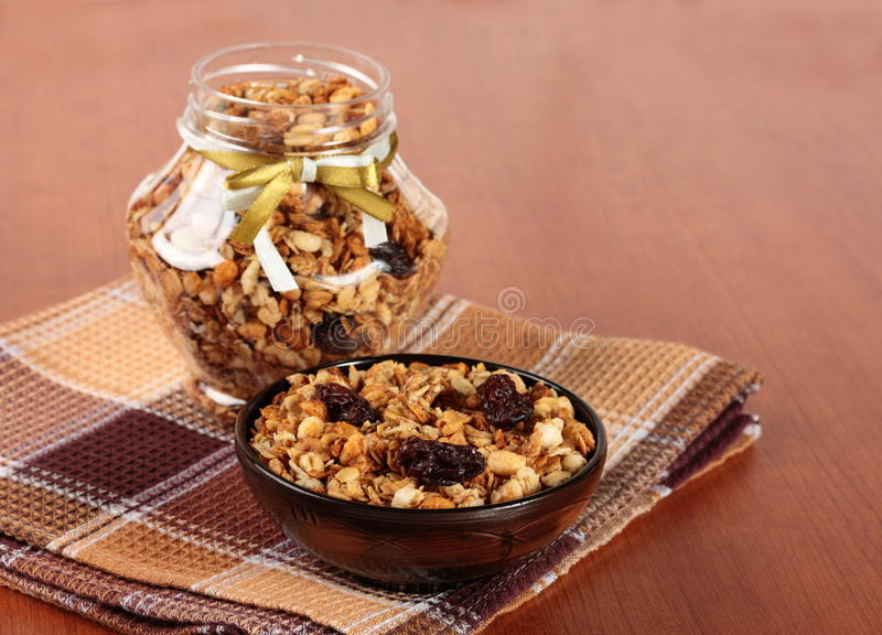 Muesli. Healthy and tasty breakfast. Muesli on the table stock photos