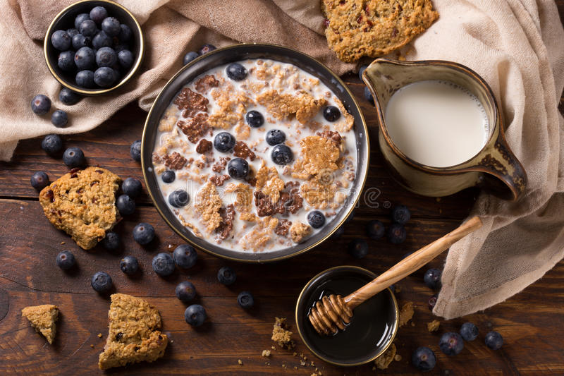 Muesli with honey and blueberry. Muesli with blueberry and honey - healthy breakfast royalty free stock photo