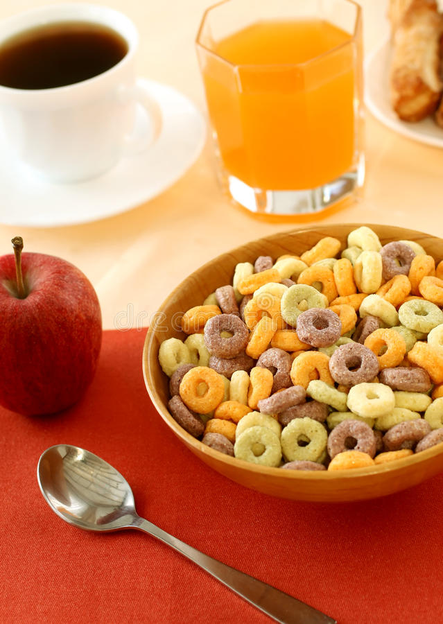 Free Muesli In Wooden Bowl, Juice And Apple Stock Image - 23330851