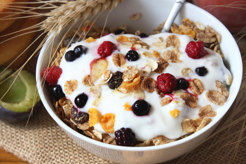 Muesli met yoghurt, gezonde ontbijtrijken in vezel royalty-vrije stock afbeelding