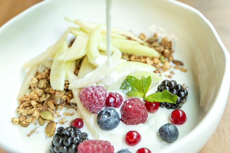 Muesli mit frischen Beeren und Früchten in einer Schüssel Nahaufnahme K?stliches und gesundes Fr?hst?ck stockfotografie