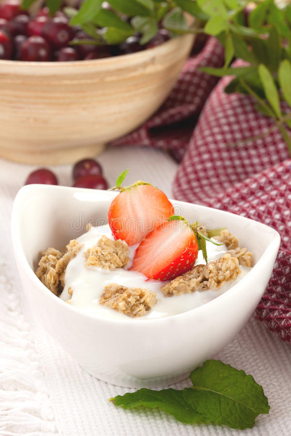 Muesli mit Joghurt stockfoto