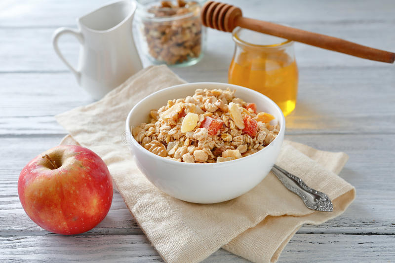 Muesli with nuts in a bowl. Food stock images