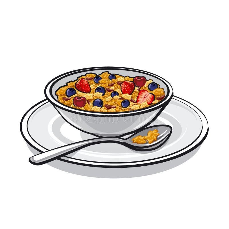Muesli op ontbijt stock illustratie
