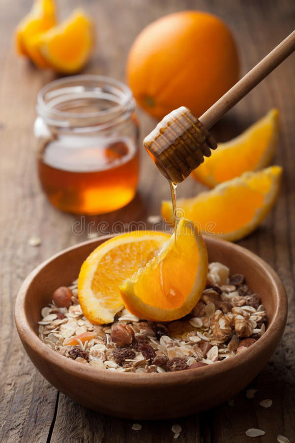 Download Muesli With Oranges And Honey Stock Photo - Image of delicious, oatmeal: 26539290
