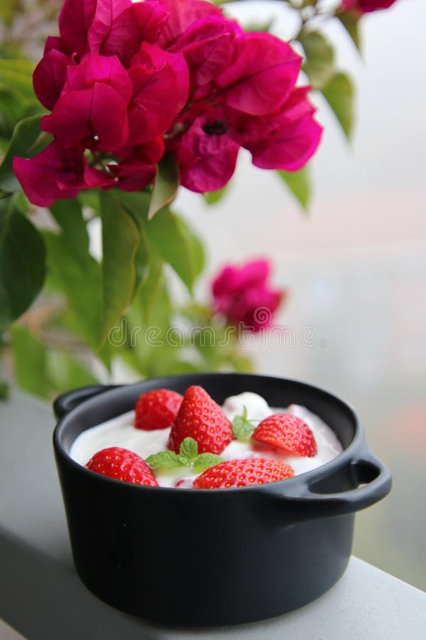 Muesli with strawberies stock image