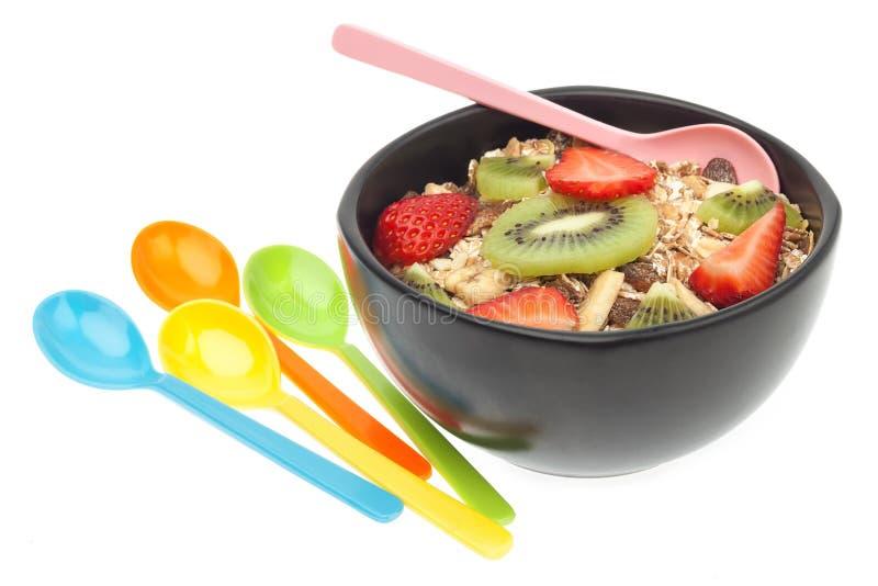 Muesli und Fruchtmahlzeit stockfotografie