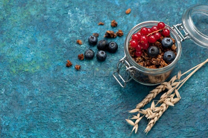Muesligranola en verse bessen, gezond ontbijt royalty-vrije stock afbeeldingen