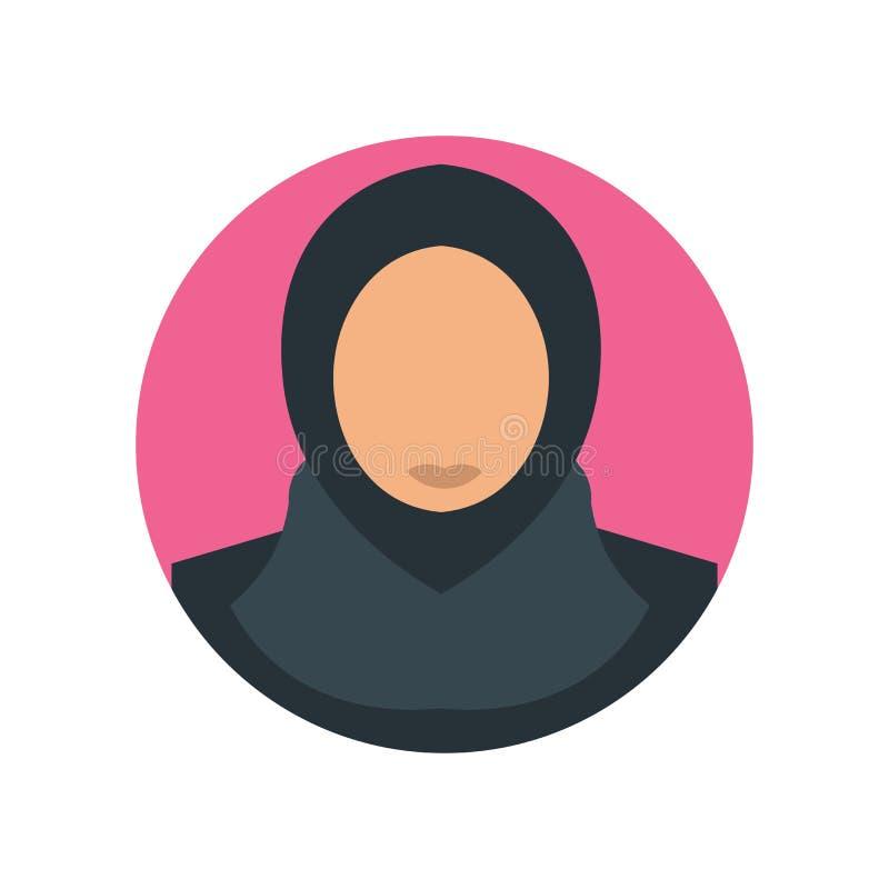 Muestra árabe y símbolo del vector del icono de la mujer aislados en el fondo blanco, concepto árabe del logotipo de la mujer ilustración del vector