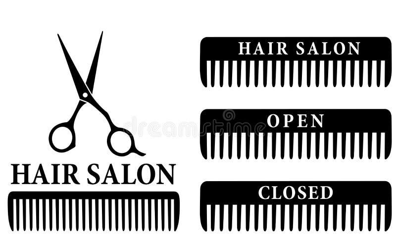 Muestra abierta y cerrada del salón de pelo con las tijeras y el peine libre illustration