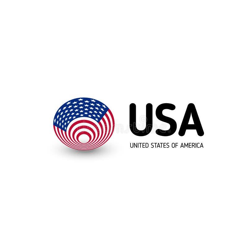 Muestra abstracta inusual del círculo del vector de los Estados Unidos de América Los E.E.U.U. aislaron el logotipo en el emblema ilustración del vector