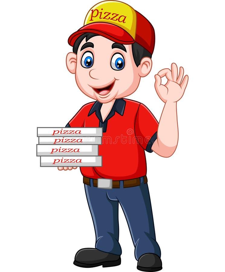 Muestra aceptable de la demostración del repartidor de la pizza ilustración del vector