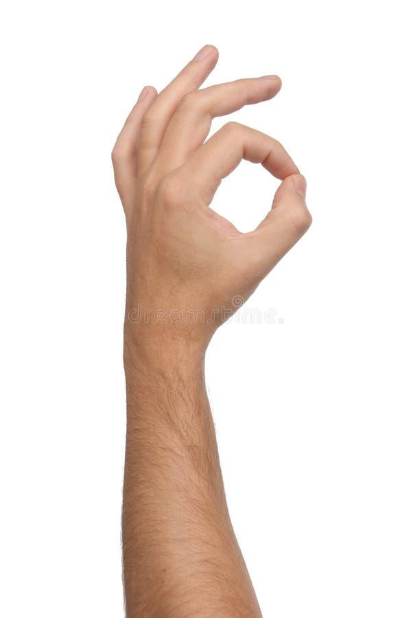 Muestra aceptable de la mano aislada en blanco foto de archivo libre de regalías