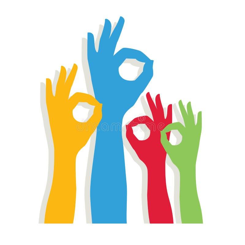 Muestra ACEPTABLE de la mano Manos de diversos colores diversidad cultural y étnica, libre illustration