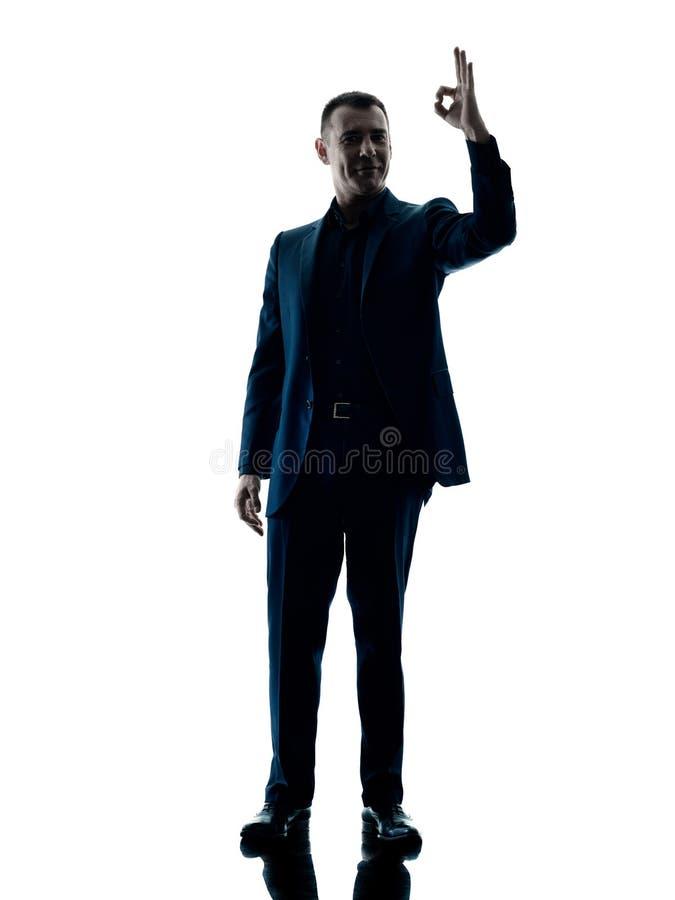 Muestra aceptable permanente del hombre de negocios aislada fotografía de archivo libre de regalías