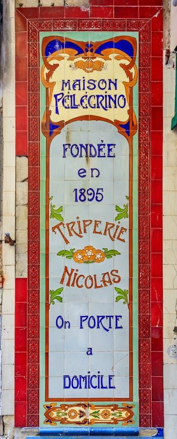 Muestra adornada del art déco en una tienda de la tripa en Niza Francia imagenes de archivo