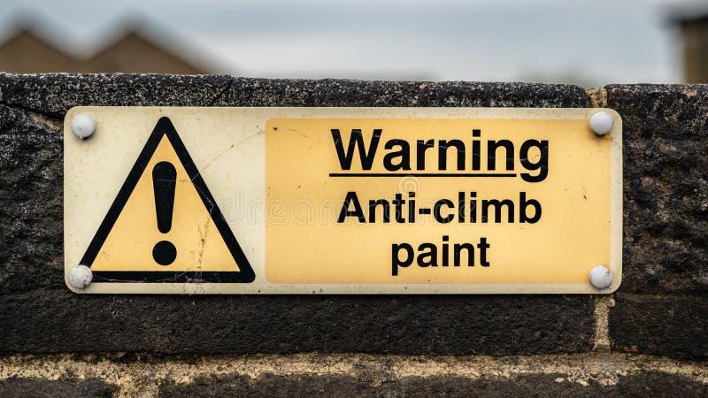 Muestra: Advertencia - pintura de la Anti-subida fotografía de archivo