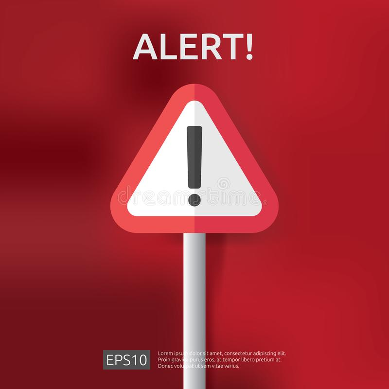 muestra alerta amonestadora con símbolo de la marca de exclamación del triángulo aventure el icono o la alarma c de la protección stock de ilustración