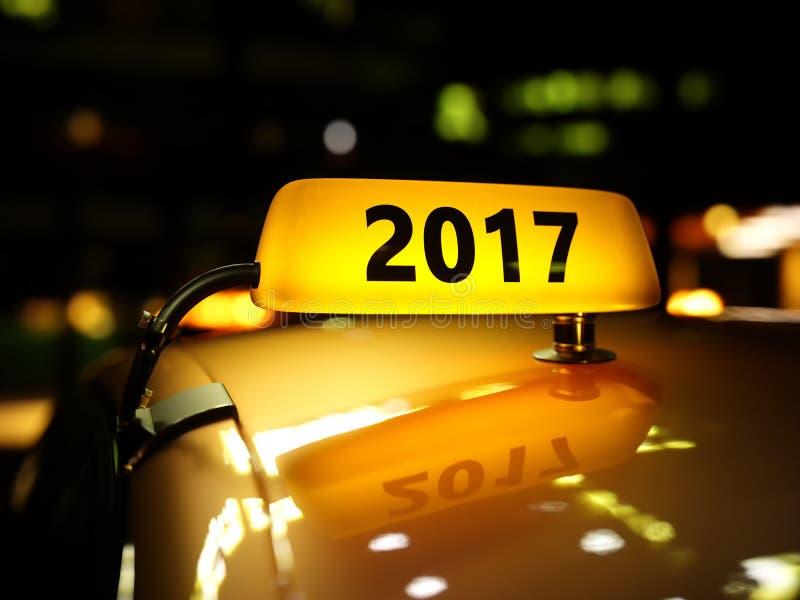 Muestra amarilla del taxi 2017 años en la noche libre illustration