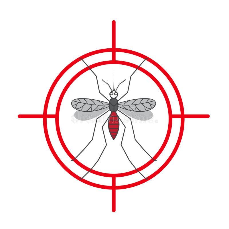 Muestra amonestadora de la protección del mosquito Mosquitos antis, símbolo de control de insecto Ilustración stock de ilustración