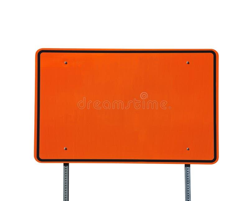 Muestra anaranjada en blanco grande de la carretera imagenes de archivo