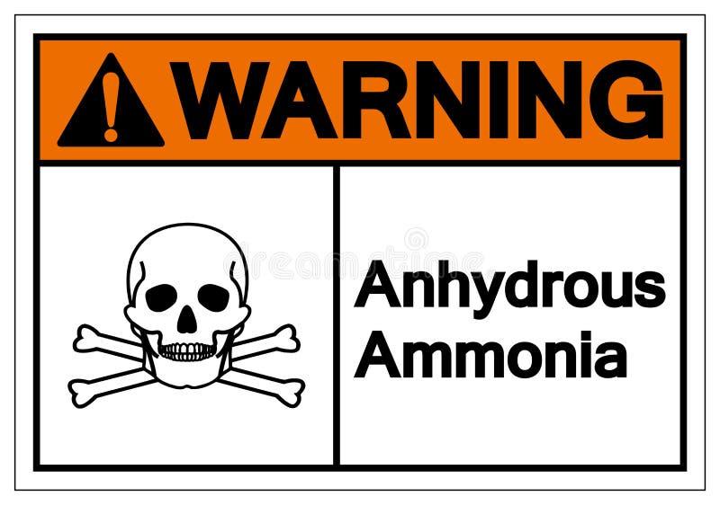 Muestra anhidra de cuidado del símbolo del amoníaco, ejemplo del vector, aislante en la etiqueta blanca del fondo EPS10 ilustración del vector