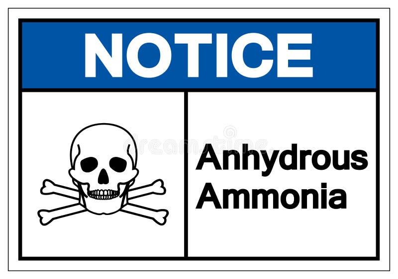 Muestra anhidra del símbolo del amoníaco del aviso, ejemplo del vector, aislante en la etiqueta blanca del fondo EPS10 ilustración del vector