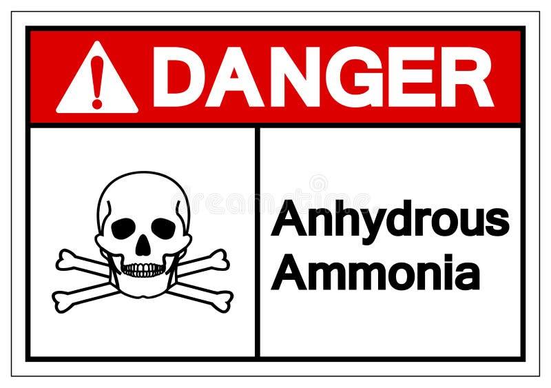 Muestra anhidra del símbolo del amoníaco del peligro, ejemplo del vector, aislante en la etiqueta blanca del fondo EPS10 stock de ilustración