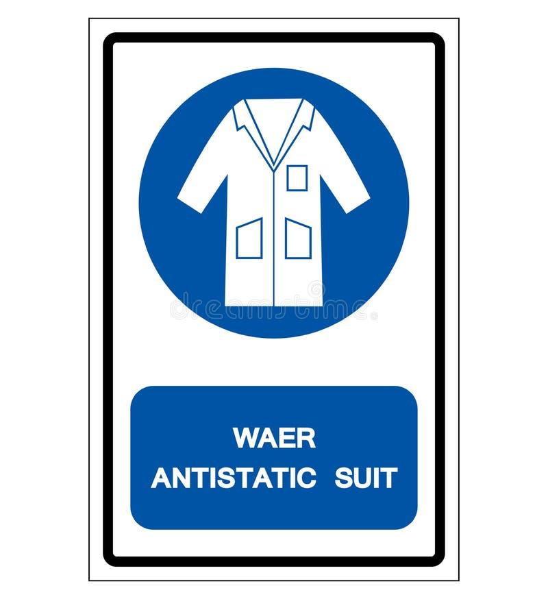 Muestra antiest?tica del s?mbolo del traje del desgaste, ejemplo del vector, aislante en la etiqueta blanca del fondo EPS10 stock de ilustración