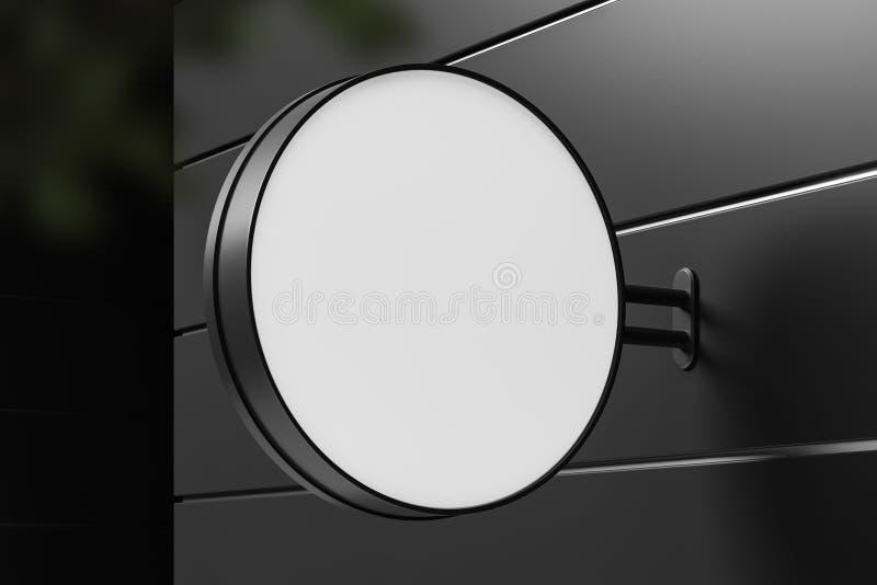 Muestra ascendente falsa redonda en la pared constructiva gris ilustración del vector