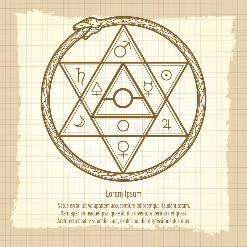 Muestra astrológica mística del vintage stock de ilustración