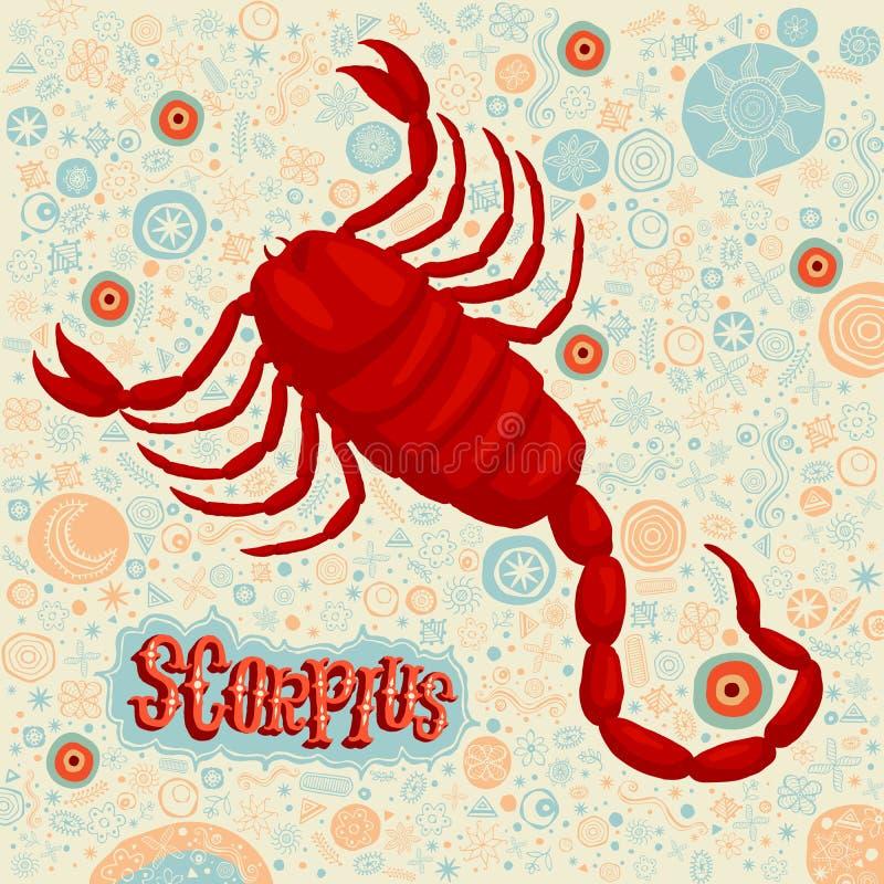 Muestra astrológica Scorpius del zodiaco Parte de un sistema de muestras del horóscopo stock de ilustración