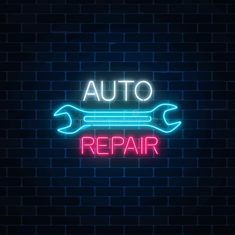 Muestra auto de neón del taller de reparaciones en fondo oscuro de la pared de ladrillo Símbolo de la publicidad de la noche que  ilustración del vector