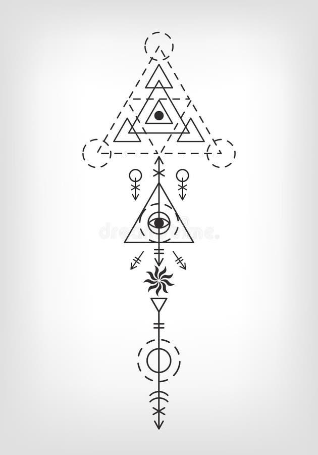 Muestra azteca del tatuaje de la geometría sagrada stock de ilustración