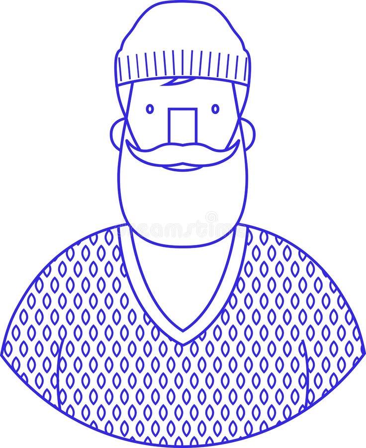 Muestra azul del retrato del icono del inconformista barbudo con el casquillo de las lanas ilustración del vector