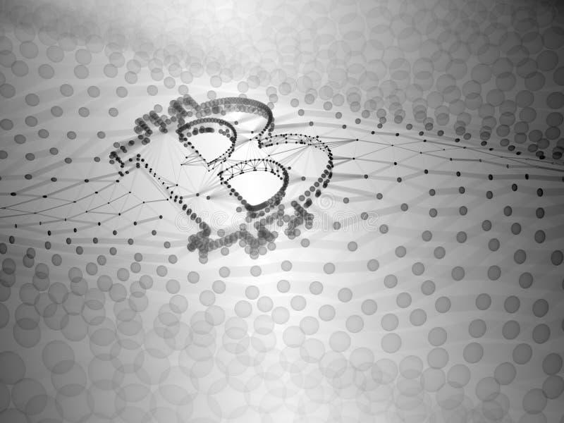 Muestra blanco y negro abstracta de Bitcoin construida como arsenal de transacciones en el ejemplo conceptual 3d de Blockchain imágenes de archivo libres de regalías