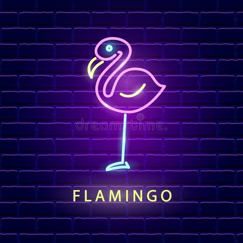 Muestra brillante de neón del flamenco libre illustration