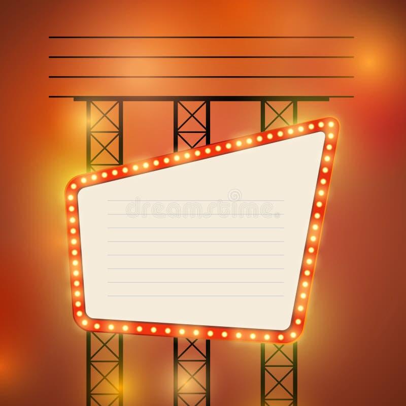 Muestra brillante del bulbo del teatro retro del cine ilustración del vector