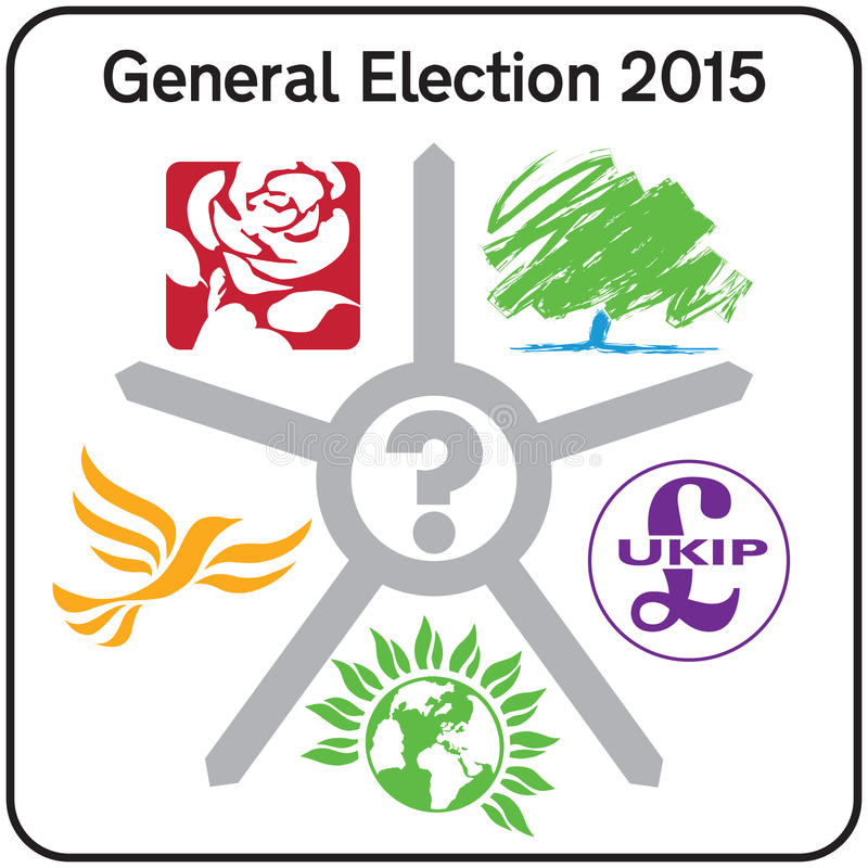 Muestra BRITÁNICA 2015 de los logotipos del partido de Politcal de la elección general libre illustration