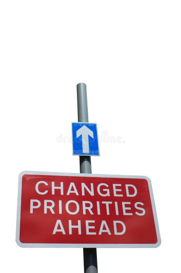 Muestra cambiada de las prioridades a continuación, aislada en blanco imagen de archivo libre de regalías