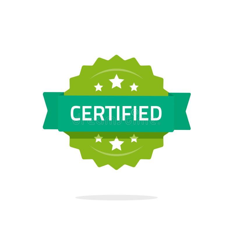 Muestra certificada del sello o del vector del sello aislada en la insignia blanca, plana de la calidad del rosetón de la histori stock de ilustración