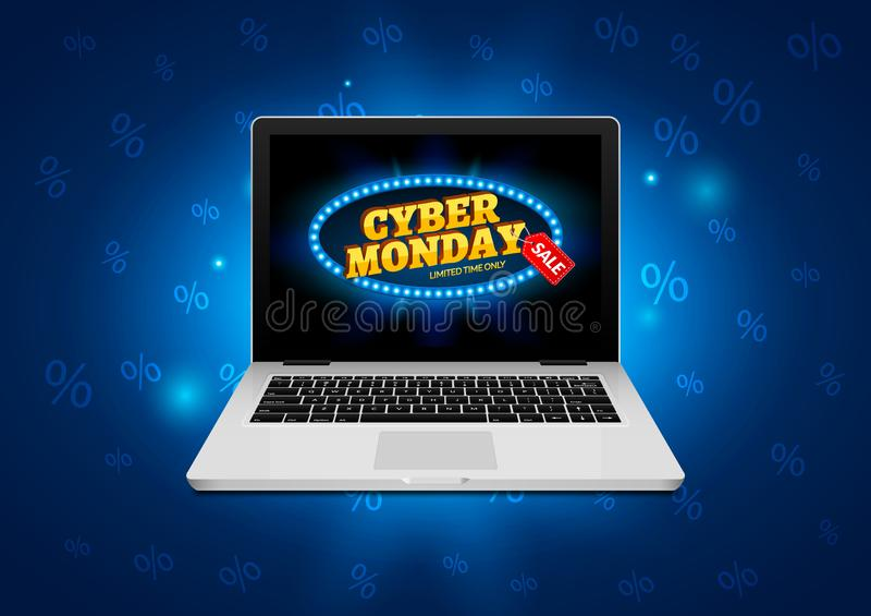 Muestra cibernética de lunes en la pantalla del ordenador portátil Bandera del fondo de la venta de la tienda de Internet del vec libre illustration