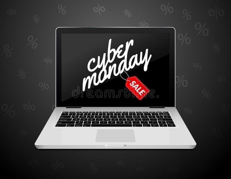 Muestra cibernética de lunes en la pantalla del ordenador portátil Bandera del fondo de la venta de la tienda de Internet del vec stock de ilustración