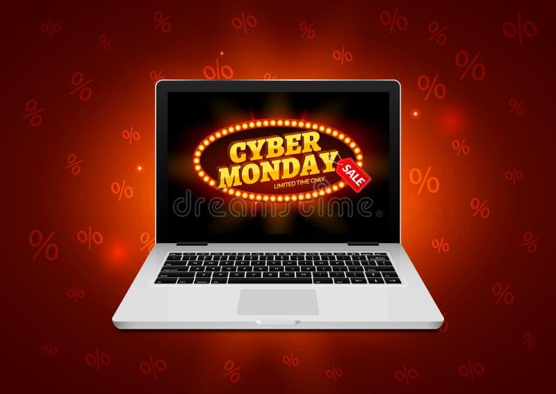 Muestra cibernética de lunes en la pantalla del ordenador portátil Bandera del fondo de la venta de la tienda de Internet del vec ilustración del vector