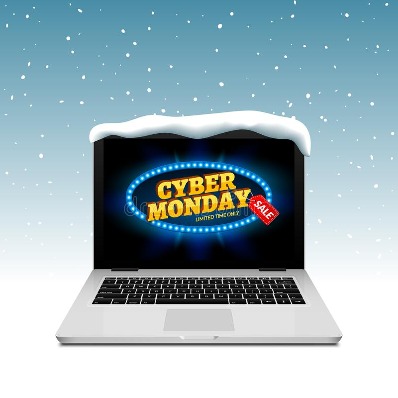 Muestra cibernética de lunes en la pantalla del ordenador portátil Vector el descuento en línea de la venta en nieve del fondo de stock de ilustración