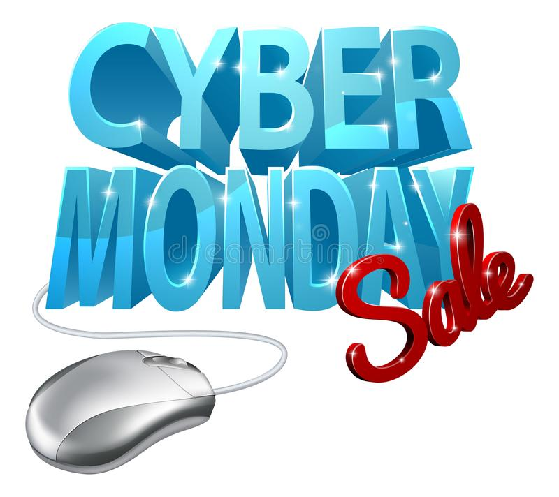 Muestra cibernética del ratón del ordenador de la venta de lunes ilustración del vector